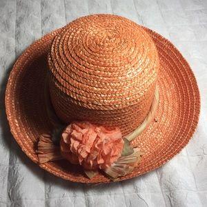 Vintage straw sun hat light orange Sunday's best